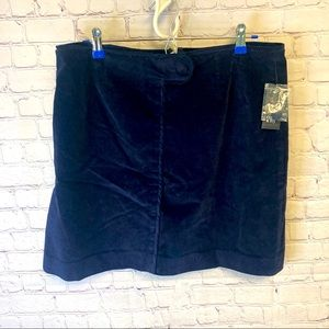Crown & Ivy navy blue corduroy mini skirt